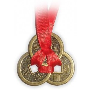 3 Brass Coins knotted with Red Ribbon