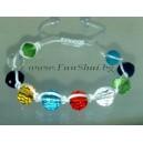 Фън Шуй Тибетска Гривна - Шамбала с Цветен Кристал (Фасетирани Топчета)