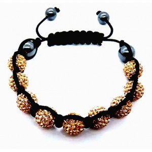 Фън Шуй Тибетска Гривна - Шамбала с Инкрустирани Оранжеви Кристали (SHOR1)